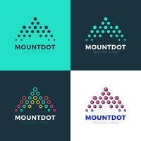 vektor logotyp bokstaven m berg investering liggande koncept prickar halvton form