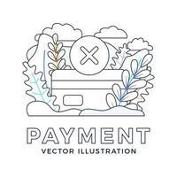abgelehnte Zahlung Kreditkartenvektor Lager Illustration isoliert auf einem weißen Hintergrund. Konzept der erfolglosen Bankzahlungstransaktion. Die Rückseite der Karte mit dem Stempel ist ein Kreuz. vektor
