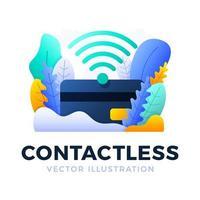 NFC-Zahlungs- und Kreditkartenvektor-Lagerillustration lokalisiert auf einem weißen Hintergrund. das Konzept des kontaktlosen Zahlungsverkehrs im Bankensektor. WLAN und Kreditkarten-Symbol. vektor
