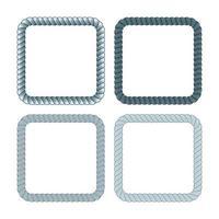 Vektorsatz des quadratischen schwarzen monochromen Seilrahmens. Sammlung von dicken und dünnen Rändern isoliert auf dem weißen Hintergrund bestehend aus geflochtener Schnur. vektor