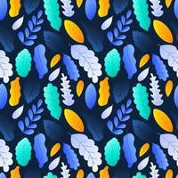 färgglada blad sömlösa mönster bakgrund lager vektorillustration på mörk bakgrund vektor