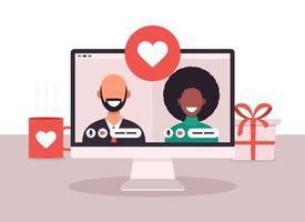 Online-Dating-App-Konzept mit Mann und Frau. flache Vektorillustration mit afrikanischer Frau und weißem kahlem Mann auf Laptop-Bildschirm. vektor