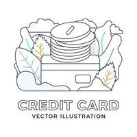 Stapel von Münzen mit einer Kreditkartenvektorvorratillustration lokalisiert auf einem weißen Hintergrund. das Konzept, Geld auf ein Bankkonto einzuzahlen. die Rückseite der Karte mit einem Stapel Münzen. vektor