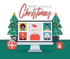 jul online hälsning. människor som möter online med familj eller vänner videosamtal på datorns virtuella diskussion. god och säker jul kontor skrivbord arbetsplats, platt vektorillustration vektor