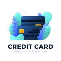 Kreditkartenvektor-Lagerillustration lokalisiert auf weißem Hintergrund. das Konzept des Mobile Banking und der Eröffnung eines Bankkontos. Farbe stilvolle Illustration mit abstrakten Figuren und Blättern. vektor
