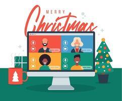jul online hälsning. människor som möts online tillsammans med familj eller vänner videosamtal på datorns virtuella diskussion. god jul kontor skrivbord arbetsplats, platt vektorillustration vektor