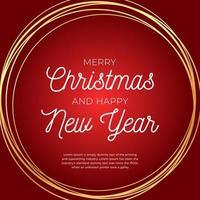 Weihnachtsgrußkarte. Retro-Weihnachts- oder Neujahrskarte mit abstraktem Goldkreis auf rotem Hintergrund. Vektorillustration im flachen Stil vektor