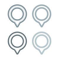 Vektorsatz von Ports und Docks Standortführer kreatives Symbolkonzept. Knotenpunkt Logo Design-Idee. Logo Inspiration mit Seil und Spot Pin Symbol. Thema des globalen Positionierungssystems. vektor