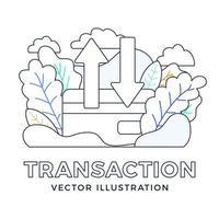 upp och ner pilar kreditkort vektor stock illustration isolerad på en vit bakgrund. begreppet dataöverföring, transaktioner med ett bankkonto. baksidan av ett kreditkort med två pilar.