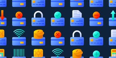 nahtloses Muster der Kreditkarten mit verschiedenen Bestandteilen Vektorillustration. Hintergrund für Bank-, Online- und Offline-Zahlungssysteme.