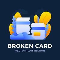 gebrochene Kreditkartenvektorvorratillustration auf dunklem Hintergrund. das Konzept des Mobile Banking und der Schließung eines Bankkontos. Konzept des Verlusts oder Löschens einer Bankkarte.