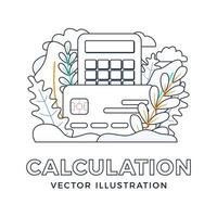 Rechner und Kreditkartenvektorvorratillustration lokalisiert auf einem weißen Hintergrund. das Konzept, Steuern zu zahlen, Ausgaben und Einnahmen zu berechnen, Rechnungen zu bezahlen. Vorderseite der Karte mit Taschenrechner. vektor