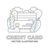 Kreditkartenvektor-Lagerillustration lokalisiert auf weißem Hintergrund. das Konzept des Mobile Banking und der Eröffnung eines Bankkontos. skizzieren Sie stilvolle Illustration mit abstrakten Figuren und Blättern. vektor