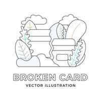 gebrochene Kreditkartenvektorvorratillustration im Umrissstil lokalisiert auf Weiß. das Konzept des Mobile Banking und der Schließung eines Bankkontos. Konzept des Verlusts oder Löschens einer Bankkarte. vektor