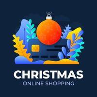 jul online shopping kreditkort vektor stockillustration isolerad för målsida eller presentation. begreppet online-shopping under coronavirus. kort med julgranbollen