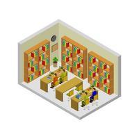 isometrisches Bücherregal auf weißem Hintergrund dargestellt