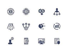 ikoner för ekonomihantering och ekonomisk planering på vitt vektor