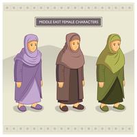 Mellanöstern kvinnliga karaktärer vektor