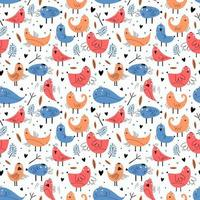 fågel sömlösa mönster med rolig karaktär. vektorillustration redo för mode textiltryck. trendig hand dras för baby- och barnkläder. blå och orange färger. vektor