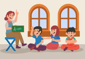 flache Elemente des Lehrers, der Mathematik und Homeschooling unterrichtet. zurück zu den Schulelementen