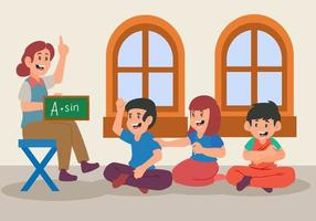 platta delar av lärare som undervisar i matematik och hemundervisning. tillbaka till skolelement