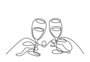 kontinuierliche einzeilige Zeichnung. jubeln mit Gläsern Wein oder Champagner. Minimalismus-Skizzenhand gezeichnet lokalisiert auf weißem Hintergrund. Einfachheit Linie Kunst abstrakten Stil. vektor