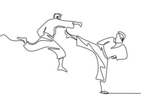 eine einzige fortlaufende Strichzeichnung des Taekwondo- und Karate-Trainings. Zwei ältere Männer üben Taekwondo, indem sie mit Beinen angreifen und Handschläge lokal auf weißem Hintergrund ziehen vektor