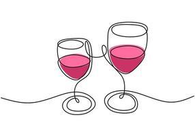 kontinuierliche eine Strichzeichnung, Vektor des Jubels, zwei Gläser Rotwein, Partyfeier mit Alkohol. Minimalismusentwurf mit der Einfachheit Hand gezeichnet lokalisiert auf weißem Hintergrund.