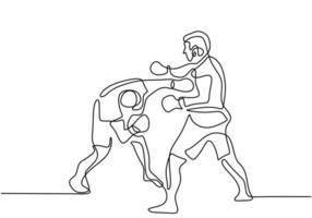eine Strichzeichnung oder fortlaufende Strichzeichnung des Taekwondo- und Karate-Trainings. Zwei junge, energiegeladene Männer üben Kick und Hit in der Karate-Kampftechnik. Kampfkunst-Sporttrainingskonzept vektor