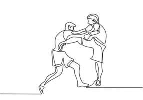 en linje ritning eller kontinuerlig ritning av taekwondo och karate träning. två unga energiska man öva spark och slå i karate slåss teknik. kampsport sport träningskoncept vektor