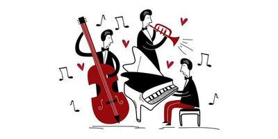 festival för jazzbandmusik. tre jazzspelare som spelar gruppmusik i en konsert isolerad platt vektor. pianist som spelar piano, trumpet och cello. kreativ tecknad stil. vektor