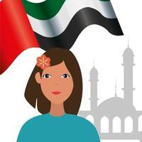 islamisk kvinna med arabisk flagga i moskén