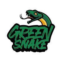 handritad illustration av grönt ormhuvud isolerad på vit bakgrund för t-shirt, tapet eller logotyp vektor