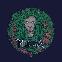 wunderbare handgezeichnete Illustration des Kopfes der Medusa. Medusakopfillustration lokalisiert auf Marinehintergrund