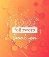 1000 följare, banner för sociala nätverk vektor
