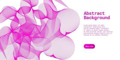 abstrakt bakgrund med dynamiska rosa våglinjer vektor