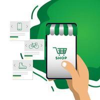 Hand hält Telefon mit Online-Shopping E-Commerce vektor