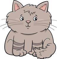 niedliche flauschige Katze oder Kätzchenkarikaturtierfigur