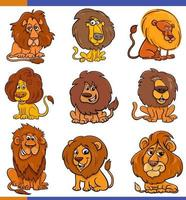 tecknad lejon komiska djur karaktärer uppsättning vektor