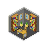 isometriskt biblioteksrum på vit bakgrund vektor