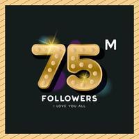 Vielen Dank für 75 Millionen Follower Design für Feier Banner vektor