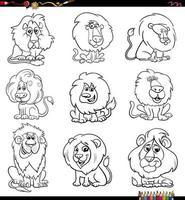 Cartoon Löwen Comic Tierfiguren Set Malbuch Seite vektor