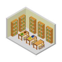 isometrischer Bibliotheksraum auf weißem Hintergrund vektor
