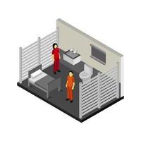 isometrischer Gefängnisraum auf weißem Hintergrund vektor