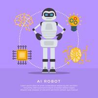 Flache AI-Roboter-Vektor-Illustration