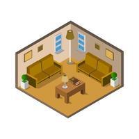 isometrisches Wohnzimmer auf weißem Hintergrund