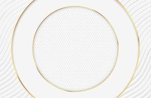 lyxig elegant vit design med guldcirkelgränser vektor