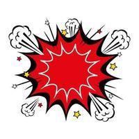 explosion röd färg med stjärnor popkonst stilikon vektor