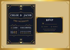 Svart guld art deco bröllopsinbjudan mall vektor
