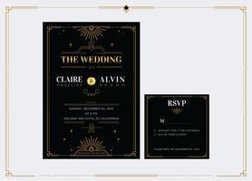 Elegant guld klassisk art deco bröllopsinbjudan mall vektor